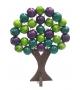 Albero della Vita Legno Sfere Colorate Viola Fucsia h14 cm