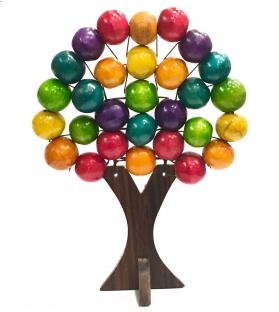 Albero della Vita Legno Sfere Colorate Arcobaleno h