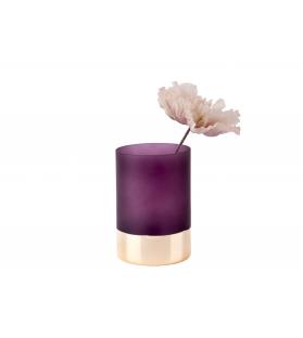 Vaso Porta Fiori Vetro Viola Oro Glamour H15 cm Ø 10 cm