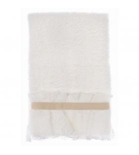 Coppia asciugama spugna pann pizzo e gros grain 30×50/50 x 80