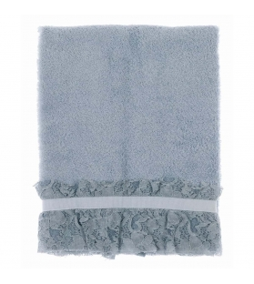 Coppia asciugamani spugna azzurro pizzo e gros grain 50x80 + 30x50 cm