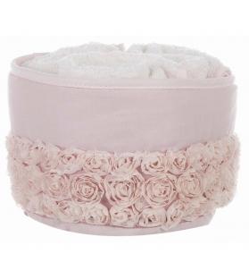 Cestino con 3 lavette roselline rosa