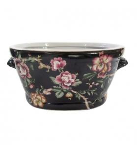 Vaso decorativo nero con fiori porcellana 44 X 27 X 21