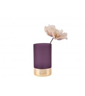 Vaso Porta Fiori Vetro Viola Oro Glamour H20 cm Ø 12 cm