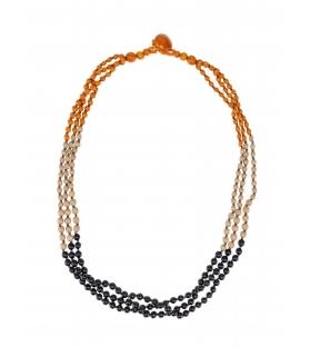 Collana legno e perline arancione blu