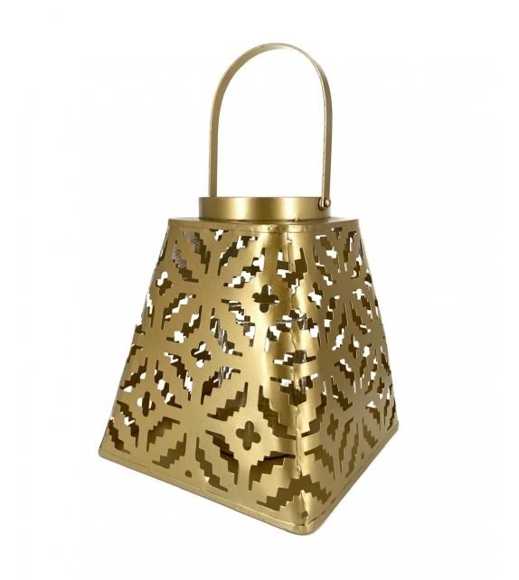 Lanterna Tropical metallo oro 24X24X38