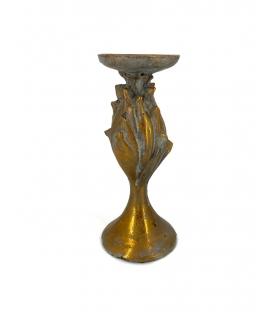 Porta candele fiore oro antichizzato