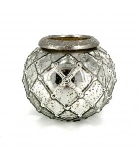 Porta candela vetro argento