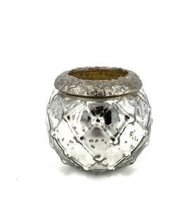 Porta candela piccolo vetro argento