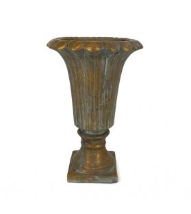 Vaso metallo dorato con piedi