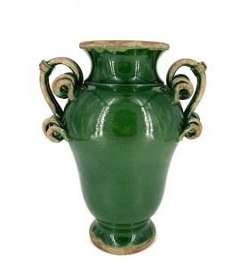 Vaso ceramica con manici verde