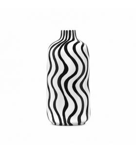 Vaso ceramica cilindrico Mirò bianco nero cm 15x15x33
