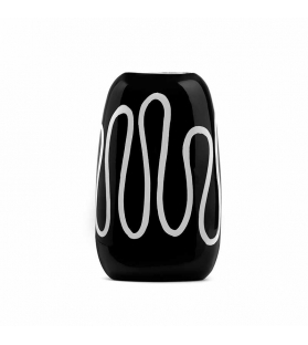 Vaso ceramica bombato Mirò nero bianco cm 19x14x32,5
