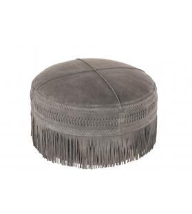 Pouf frangia tondo pelle grigio 52x52x40cm