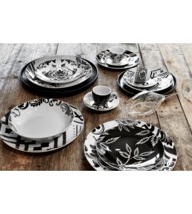 Servizio piatti tavola Black & White 2.0 18 pezzi porcellana