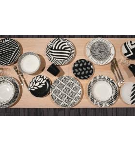 Servizio piatti tavola Black & White 18 pezzi porcellana