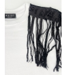 T-shirt Donna bianca con frange pailletes nero