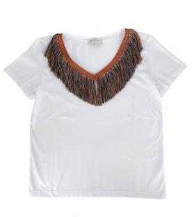 T-shirt Donna frangia collo a v