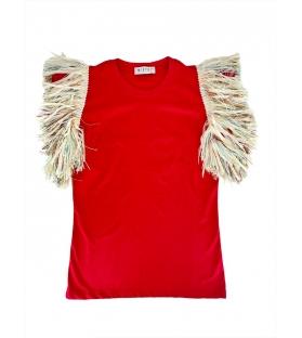 T-shirt Donna frangia maniche