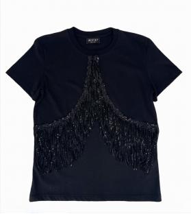 T-shirt donna frange paillettes