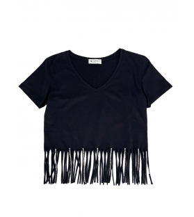 T-shirt frange strass donna nera