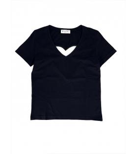 T-shirt cuore con strass donna nera
