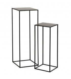 Set 2 tavolini alti metallo nero h65 e 85 cm