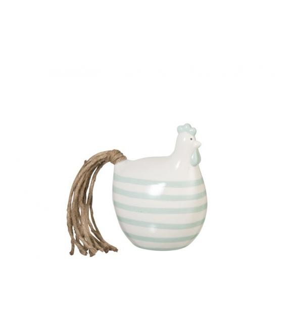 Gallina Righe Ceramica Bianca Decorazione 14x11x18cm