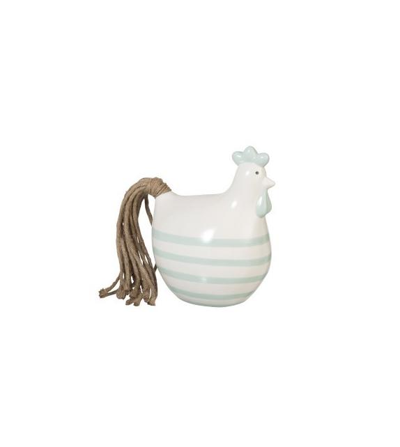 Gallina Righe Ceramica Bianca Decorazione 18x14x22cm