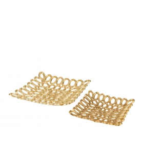 Set 2 piatti quadrati cerchi oro alluminio