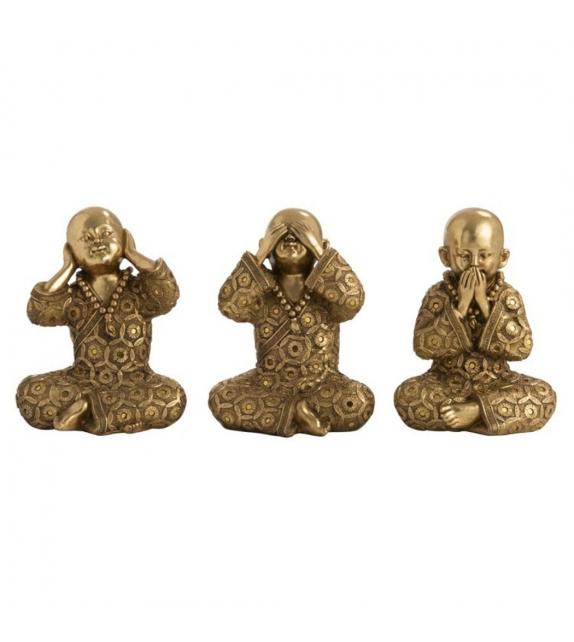 Monaci Tibetani Non vedo Non sento Non Parlo Oro Set 3 pezzi h16cm