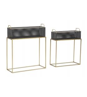 Porta vasi Fashion nero oro metallo