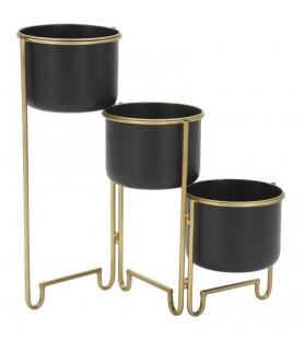 Porta vasi Glamy nero oro metallo