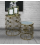 Coppia Tavolini Glosh Specchio Oro Ø 60x75 - 46x51 cm