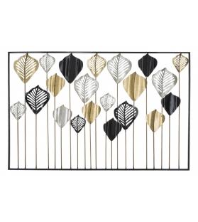Pannello Decorativo Foglie Oro Argento Nero Ferro 120x2,5x78,5 cm