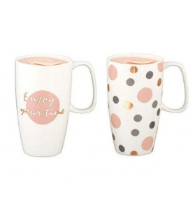 Tazza Mug Pois Enjoy con Coperchio Diametro 9x15 cm H