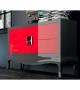 Credenza Sideboard Quantum Plain Grigio Rosso 2 Ante