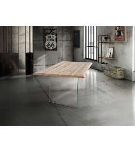 Tavolo Industrial Massello Fisso Piano scortecciato sp.4 cm Base vetro