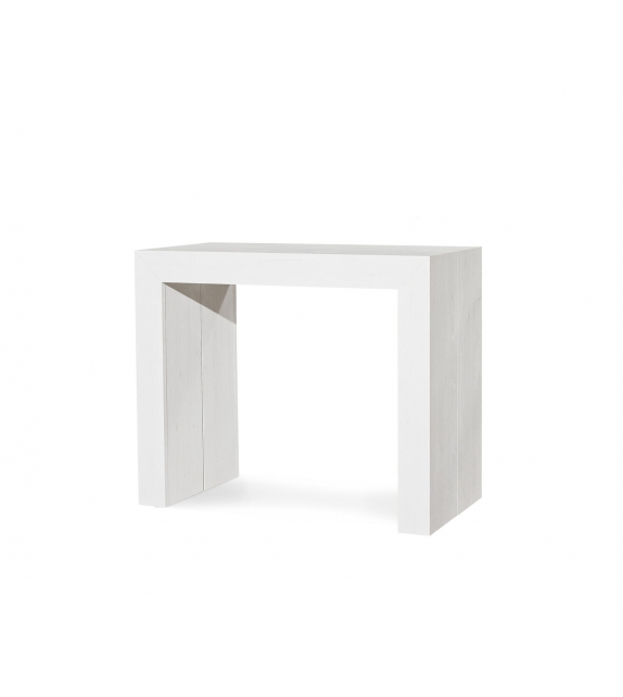 Consolle bianco consumato 90×45 con 5 allunghe da cm. 50