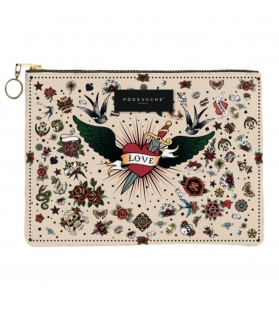 Pochette Love Tattoo Compris con zip L22xH15xP1.5cm