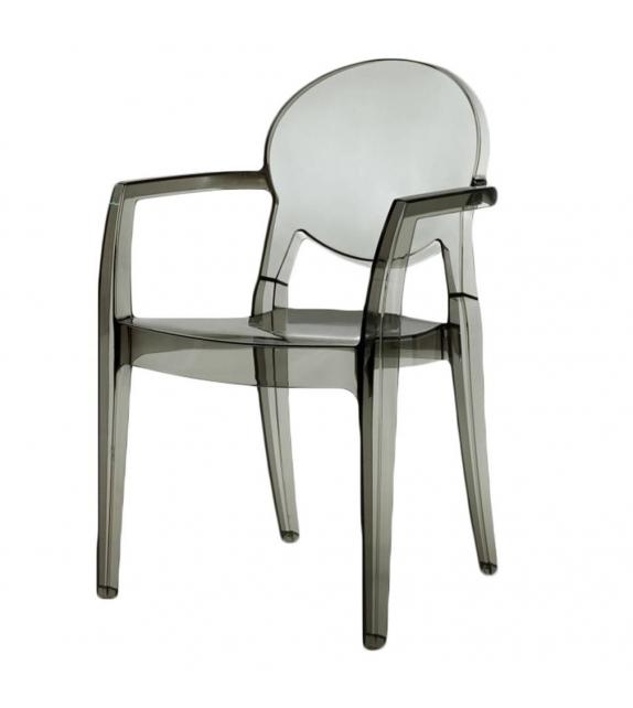 Sedia con braccioli in policarbonato colore Fumè