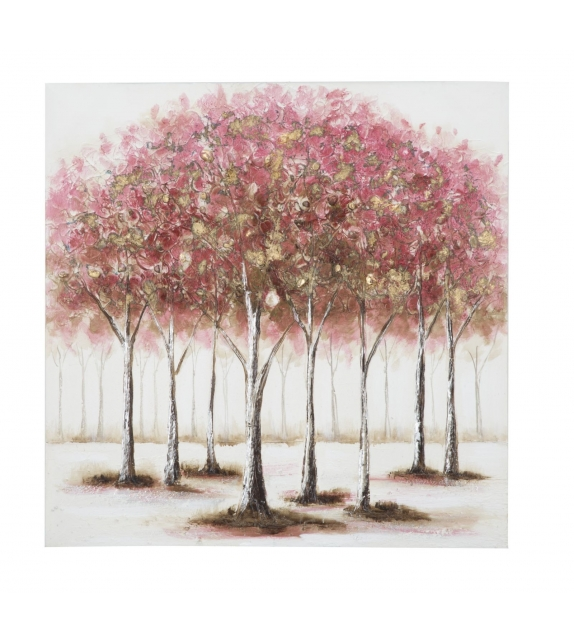Dipinto su Tela Alberi Rosa 80X3X80