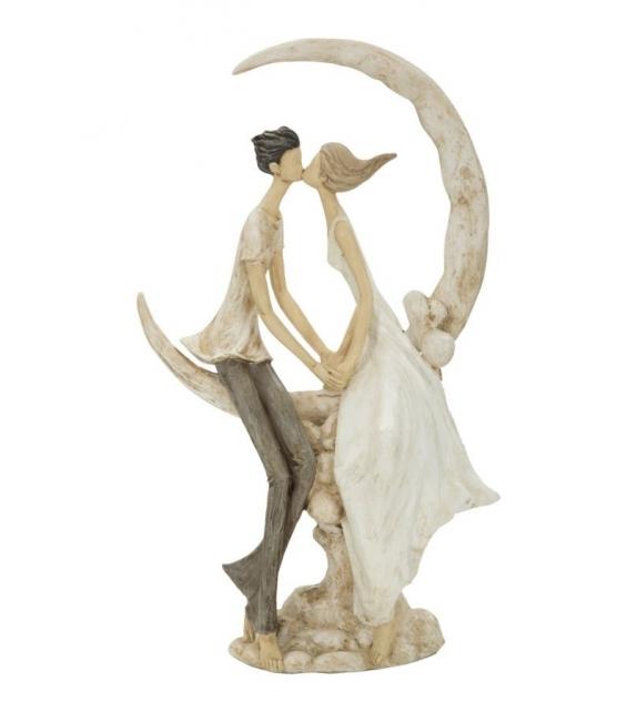 Statua Coppia Innamorati sulla Luna 20X10X33,5 cm