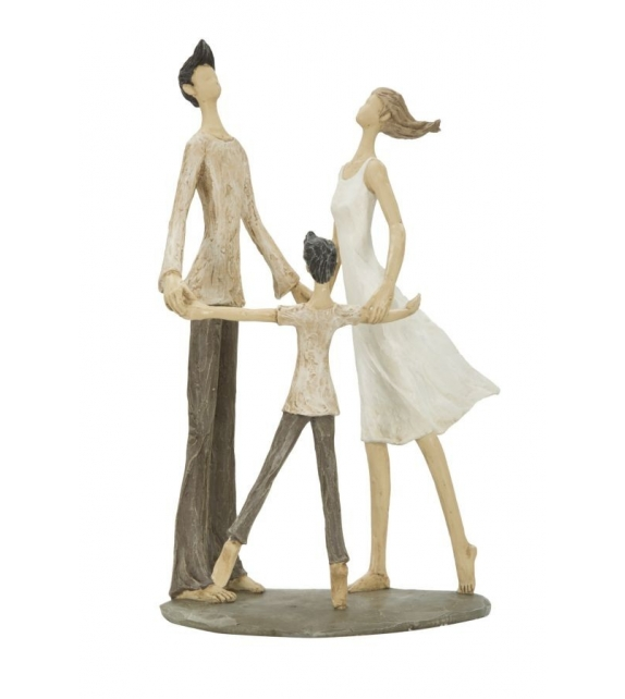 Statua Famiglia Girotongo Resina h31 cm