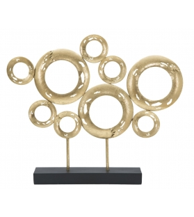 Scultura Metallo Oro Cerchi 49X7X41 cm