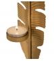 Scultura Foglia Oro Porta T-Light h34 cm