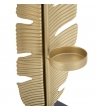 Scultura Foglia Oro Porta T-Light h30 cm