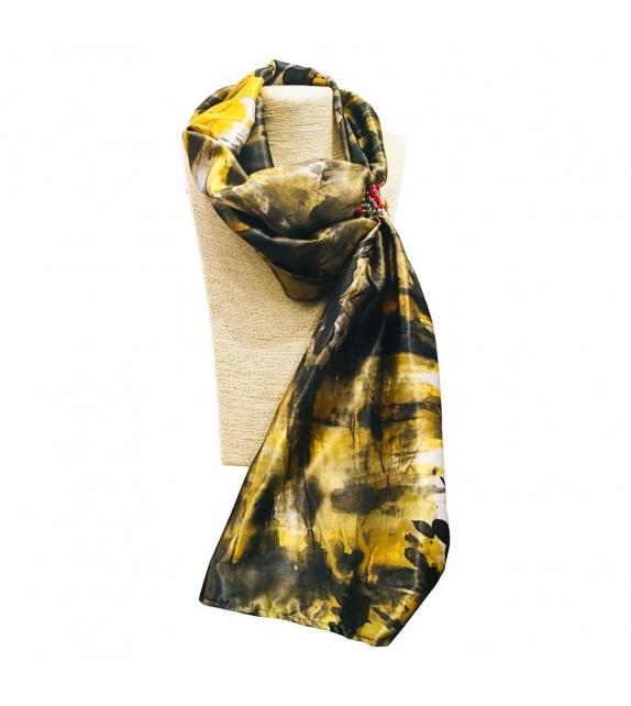 Foulard Gioiello Lungo Dark Yellow Marble Seta