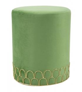 Pouf Velluto Verde Base Ring Oro Ø 35X42 cm