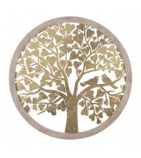 Albero Della Vita e dell'Amore Pannello decorativo da parete Oro e Legno Ø 80X2,5